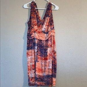 Orange Purple White SimplyVera Size L Midi Dress